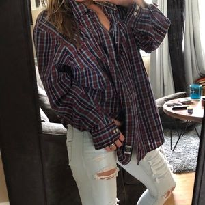 plaid button up boyfriend shirt